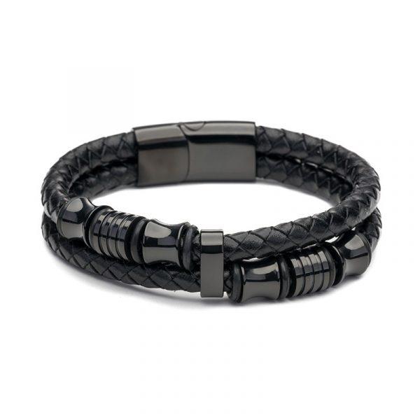 Férfi karkötő fekete modern dupla fém bőr