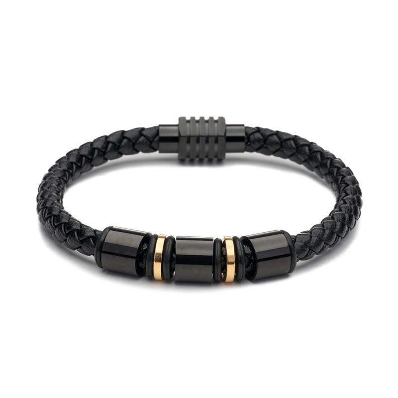Férfi karkötő fekete bőr arany dísz mágnes