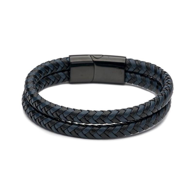 Férfi karkötő fekete kék dupla fonott