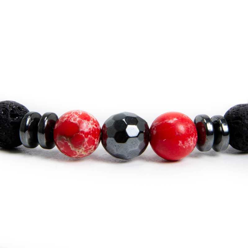 hegykristály karkötő hematit piros fekete